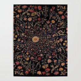 Medieval Flowers on Black Poster