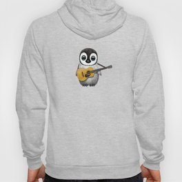 Musical Baby Penguin Playing Acoustic Guitar on Pink Hoody