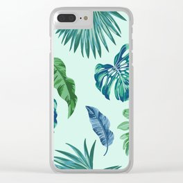 Palm Trees & Leaves Pattern Clear iPhone Case