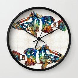 Colorful Grouper 2 Art Fish by Sharon Cummings Wall Clock