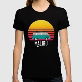Malibu California Retro Sunset Surfing Hippie Van Art T-shirt