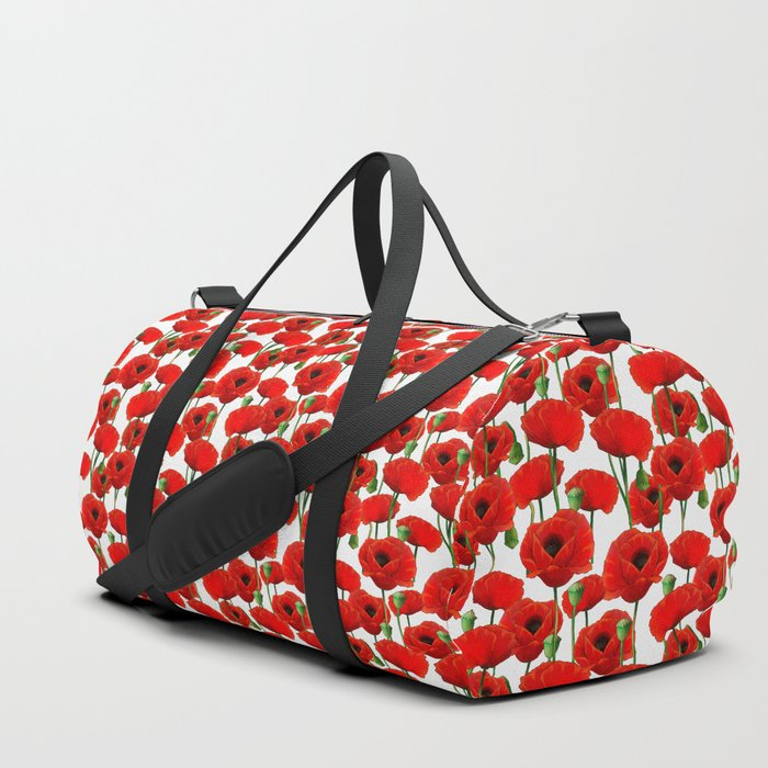 Red Poppy Pattern Duffle Bag