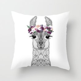 FLOWER GIRL ALPACA Throw Pillow