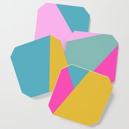 Abstract Geometry in Bold Bright Color Coaster
