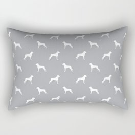 Boxer dog breed pattern dog gifts grey and white minimal dog silhouette Rectangular Pillow