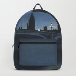 The Palace of Westminster London Oil on Canvas Backpack
