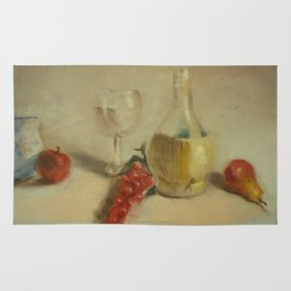 Fruit with Bottle of Water - Oil Painting Print Rug