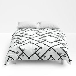 Bamboo Chinoiserie Lattice in White + Black Comforters