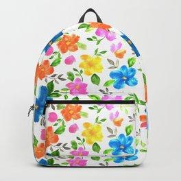 watercolor spring flower pattern Backpack
