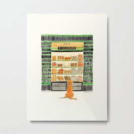 Hungry dog at Paul Boulangerie, Paris Metal Print