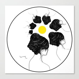 Sun and profile girls Canvas Print