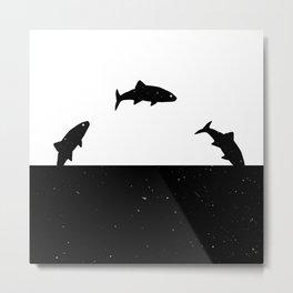 Fish print Black & White Metal Print