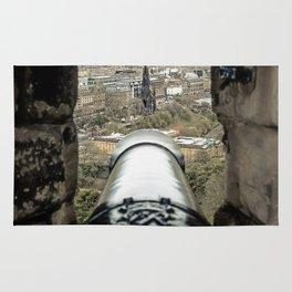 scott monument from Edinburgh castle gun Scotland Rug
