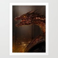 smaug Art Prints featuring Smaug by Arkarti
