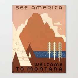Vintage Montana Travel and Tourism Poster, 1938 Canvas Print