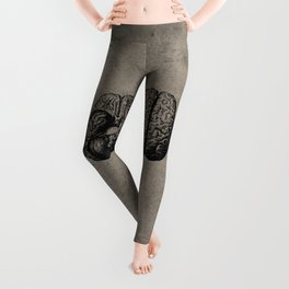 Row o' Brains - Engraving - Vintage - Old Black, White & Brown Leggings