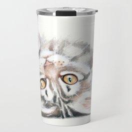 Cute Maine Coon Kitten Playing Travel Mug