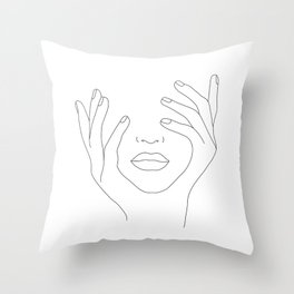 Minimal Line Art Woman with Hands on Face Throw Pillow