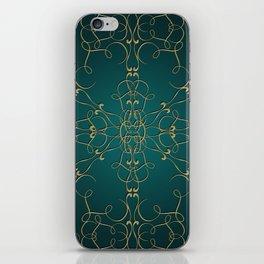 Gold Teal Mandala iPhone Skin
