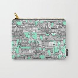 Paris toile aquamarine Carry-All Pouch
