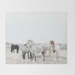 WILD AND FREE  1 - HORSES OF ICELAND Throw Blanket