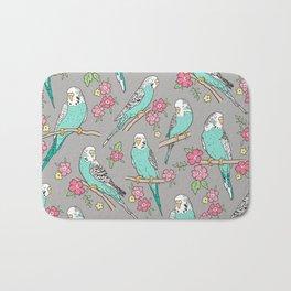 Budgie Birds With Blossom Flowers on Grey Bath Mat