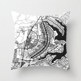 Brasilia Map Gray Throw Pillow