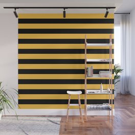 Yellow and Black Bumblebee Stripes Wall Mural