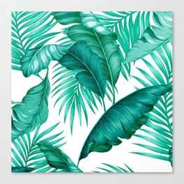 HAWAIIAN GARDEN TROPICAL LEAVES | turquoise white Canvas Print