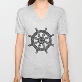 Zentangle - Dharma Wheel  Unisex V-Neck
