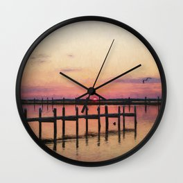 Sunset In Downtown Chincoteague II Wall Clock