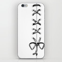 Laced Gray Ribbon on White iPhone Skin