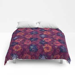 Lotus flower - fire on mulberry woodblock print style pattern Comforters