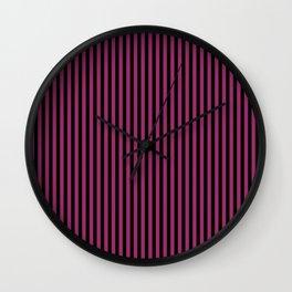 Festival Fuchsia and Black Stripes Wall Clock