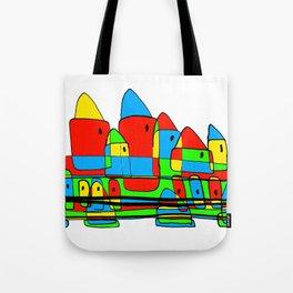 Colored Little Village for Kids Tote Bag