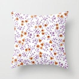 Prairie Flowers - Watercolor Floral Purple Copper Brown Throw Pillow