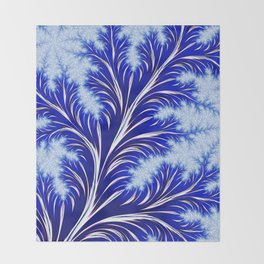 Abstract Blue Christmas Tree Branch with White Snowflakes Throw Blanket