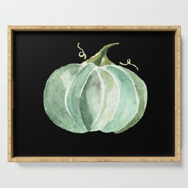 Blue Watercolor Pumpkin on Black Serving Tray