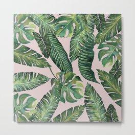 Jungle Leaves, Banana, Monstera Pink #society6 Metal Print