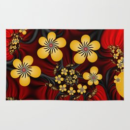 Yellow Fantasy Flowers On Red And Black Rug