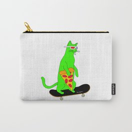 """""""Psychedelic Skateboarding Pizza Cat"""", by Brock Springstead Carry-All Pouch"""