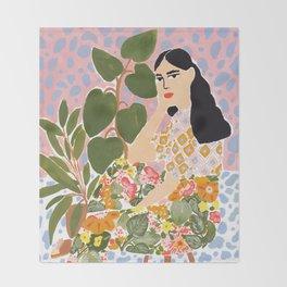 Botanical Lady Throw Blanket