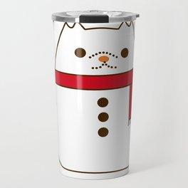 Cute Christmas Snowman Pupsheen Travel Mug