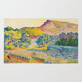 Henri-Edmond Cross Neo-Impressionism Landschaft mit Le Cap Nègre Paysage avec le cap Nègre Rug