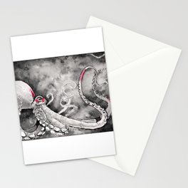 Octopus red squares Stationery Cards