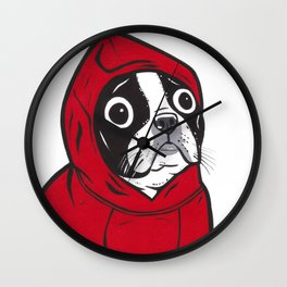 Red Hoodie Boston Terrier Wall Clock