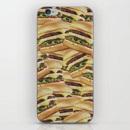 Vintage Cheeseburger Pile Print iPhone Skin
