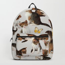 Kittens and Butterflies - a painted pattern Backpack