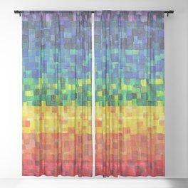 Chakra Rainbow Tiles Sheer Curtain