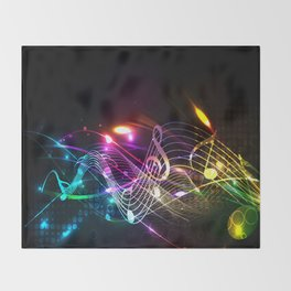 Music Notes in Color Throw Blanket